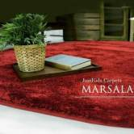 Круглый красный ковёр JumKids Sweet Marsala c высоким ворсом